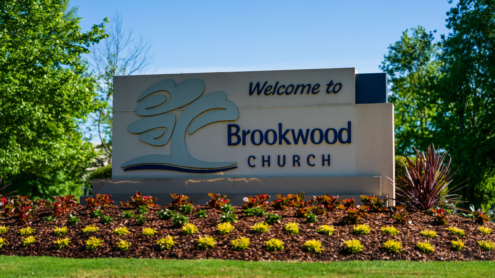 The sign at the front of the Brookwood Church property
